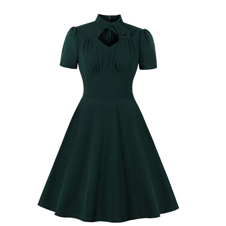 Vintage Solid Color Stand Collar Short Sleeve High Waist A-line Midi Dress N19940