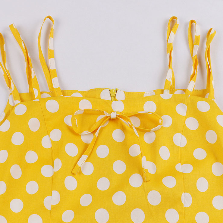 Vintage Dresses for Women, Sexy Dresses for Women Cocktail Party, Casual Vintage Polka Dot Printed Dress, Strappy Swing Daily Dress, Women