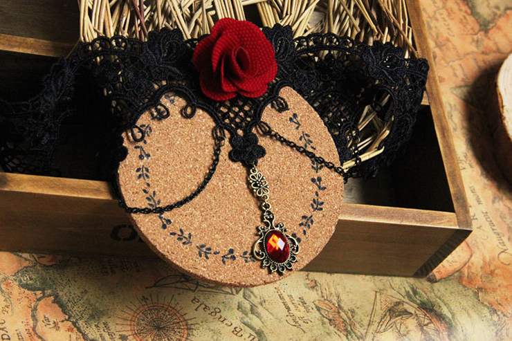 Vintage Style Necklace, New Gothic Necklace, Beaded Necklace, Lace Necklace, Cheap Punk Chocker, Victorian Necklace, #J12013