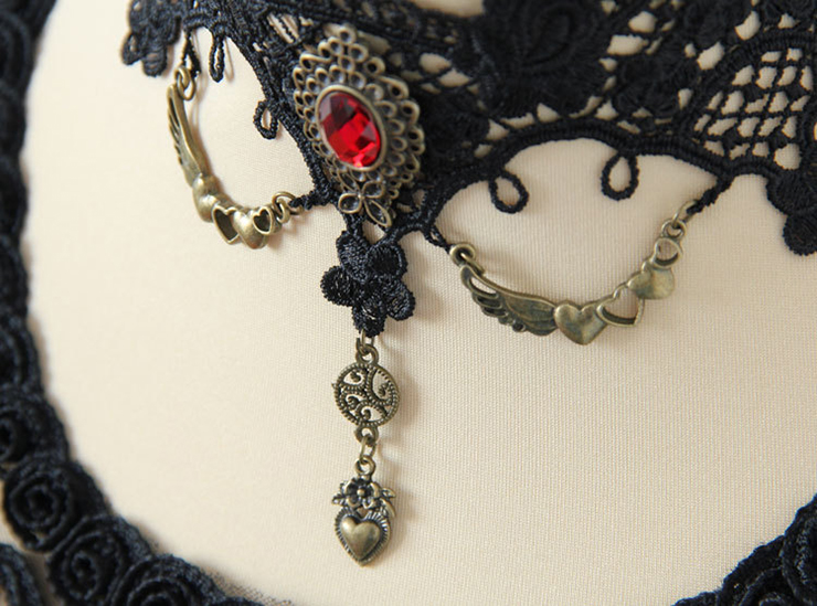 Vintage Style Necklace, New Gothic Necklace, Beaded Necklace, Lace Necklace, Cheap Punk Chocker, Victorian Necklace, #J12030