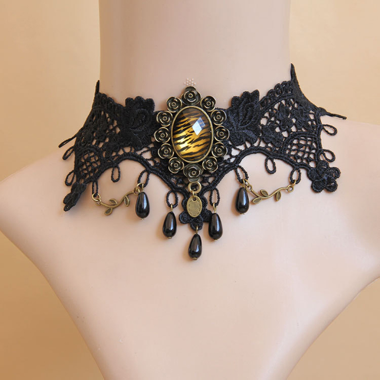 Vintage Style Necklace, New Gothic Necklace, Beaded Necklace, Lace Necklace, Cheap Punk Chocker, Victorian Necklace, #J12036