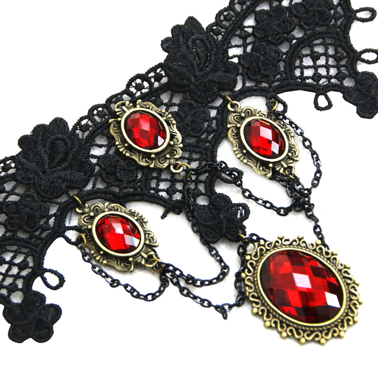 Vintage Style Necklace, New Gothic Necklace, Beaded Necklace, Lace Necklace, Cheap Punk Chocker, Victorian Necklace, #J12037