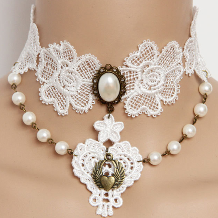Vintage Gothic Victorian White Lace Pearl Wedding Party Necklace J12038