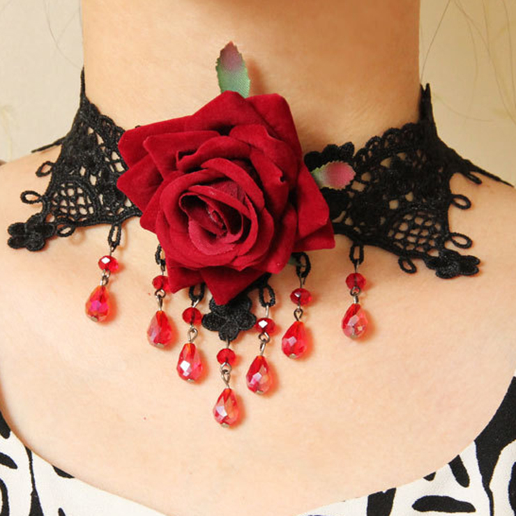 Punk Gothic Victorian Wedding Party Rose Lace Choker Necklace J12040