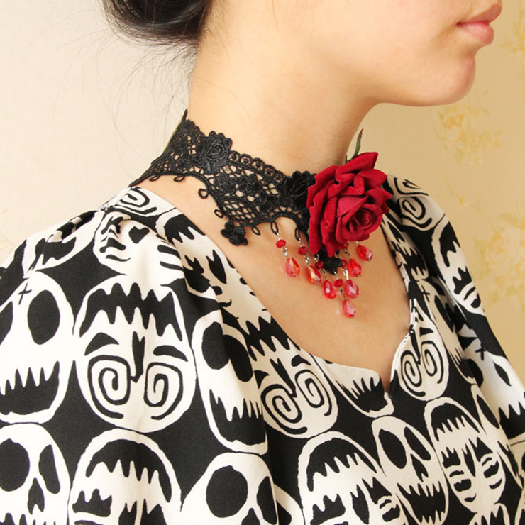 Vintage Style Necklace, New Gothic Necklace, Beaded Necklace, Lace Necklace, Cheap Punk Chocker, Victorian Necklace, #J12040