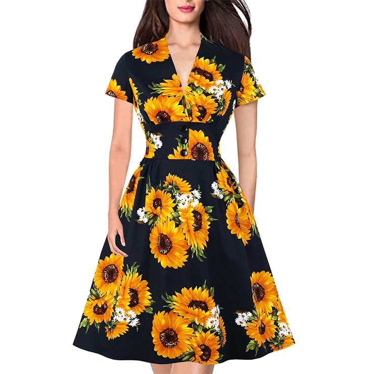 Vintage Sunflower Pattern Deep V-neck Short Sleeve Slim Waist A-Line Swing Dress N19978