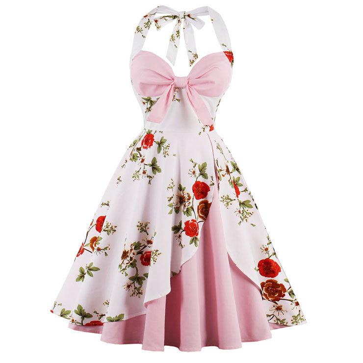 1950's Vintage Pink Sweetheart Floral Print Halter Cocktail Swing Dress N14927