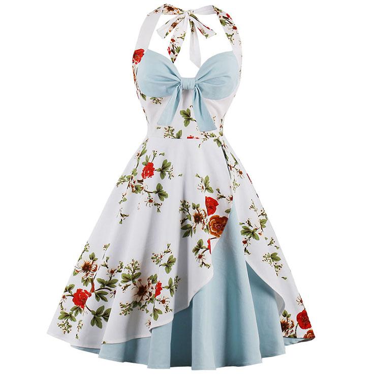 1950's Vintage Blue Sweetheart Floral Print Halter Cocktail Swing Dress N14928