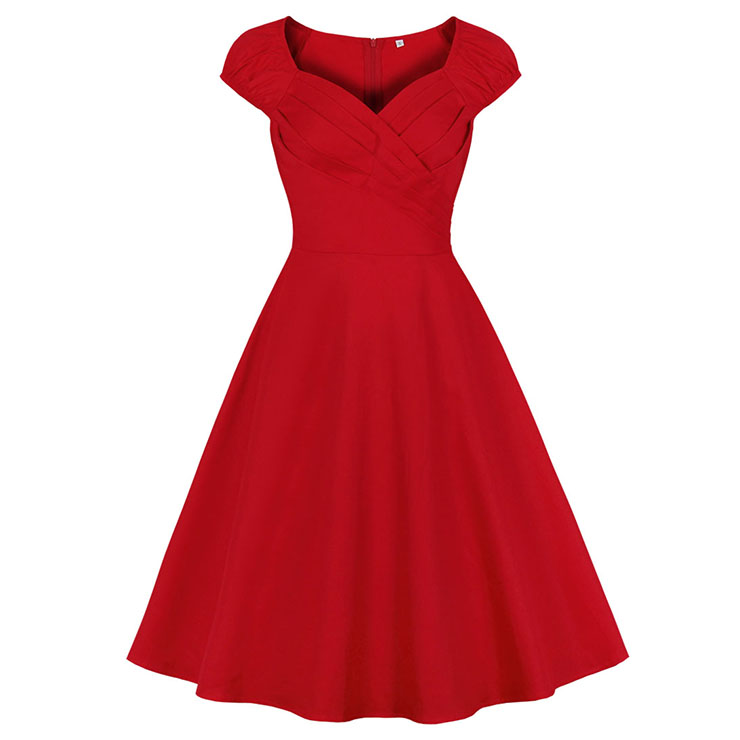 Vintage Red Sweetheart Neckline Cap Sleeves High Waist Cocktail Party Swing Dress N21341