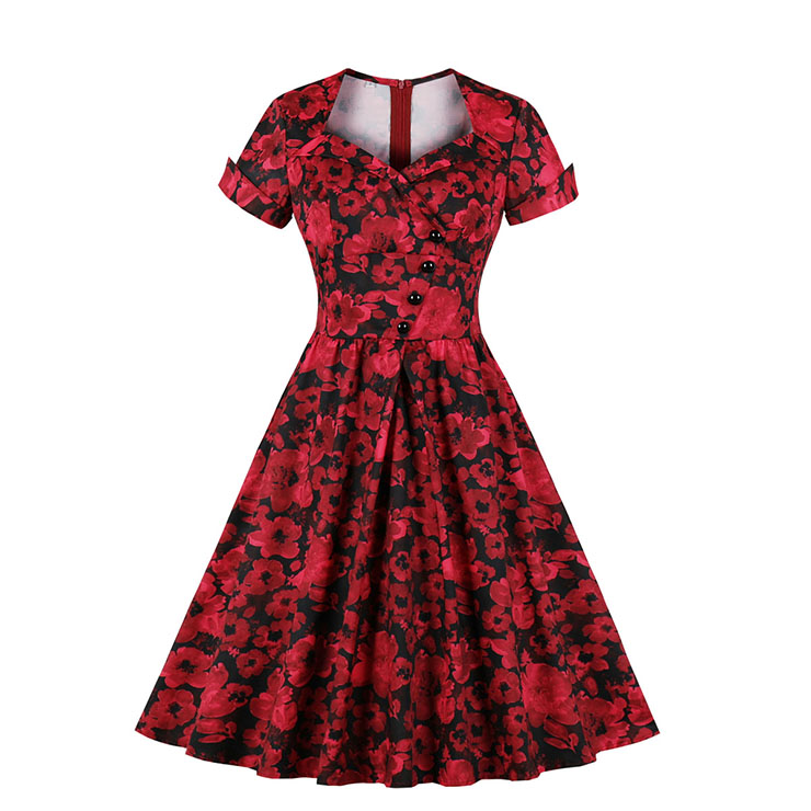 Vintage Red Floral Print Sweetheart Neckline Short Sleeve High Waist A-line Midi Dress N19595