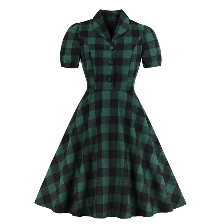 Retro Tartan Lapel Short Sleeve Plaid High Waist A-line Midi Dress N18757