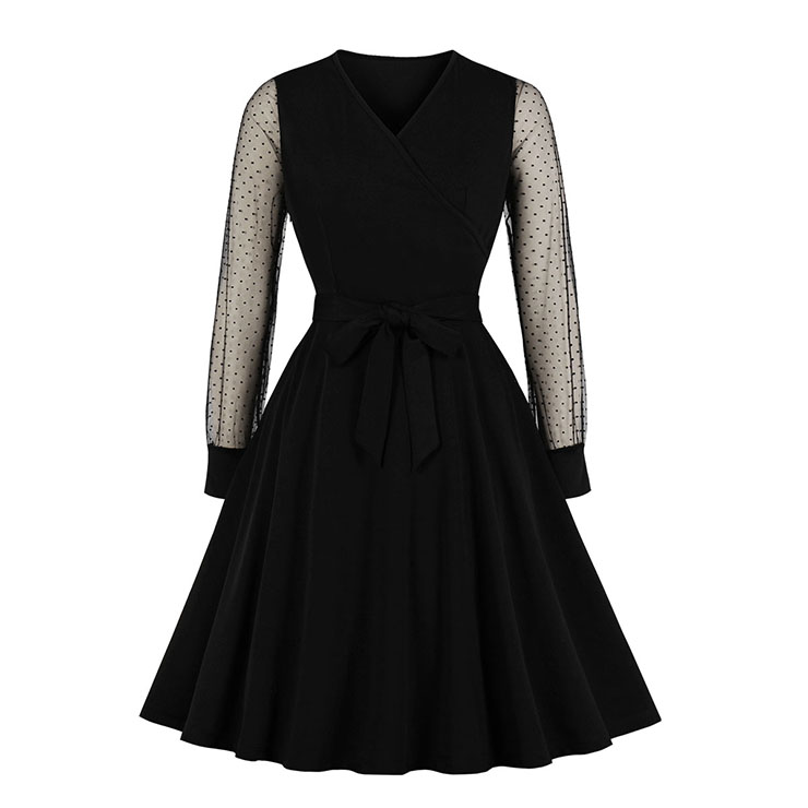 Sexy Black V Neck Sheer Mesh Long Sleeve Belted Party Midi Dress N19589