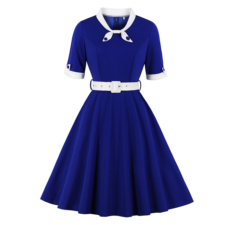 1950's Vintage Tie Collar Half Sleeve High Waist Belted A-line Party Midi Dress N20112