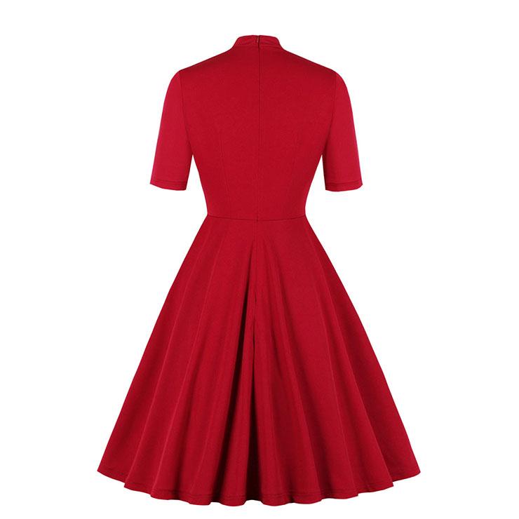 Vintage Tie Collar Dress, Fashion Casual Office Lady Dress, Sexy Party Dress, Retro Party Dresses for Women 1960, Vintage Dresses 1950