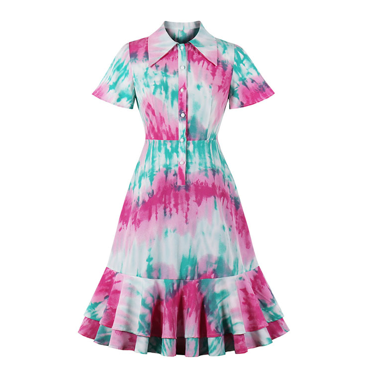 Sexy Contrast Color Tie-dye Print Lapel Short Sleeve High Waist Ruffle Midi Dress N20954
