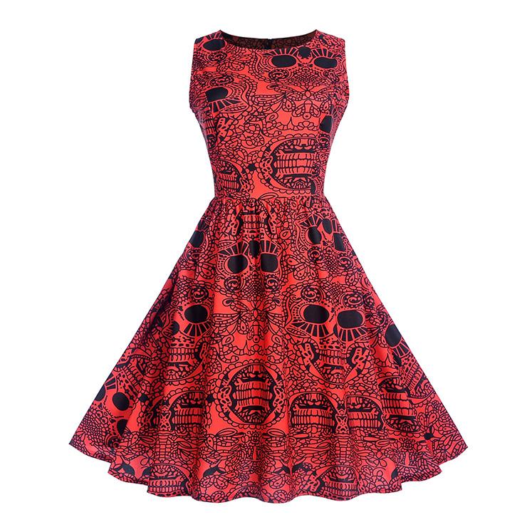 Vintage Red Sleeveless Classical Totem Print High Waist Midi Dress N18279