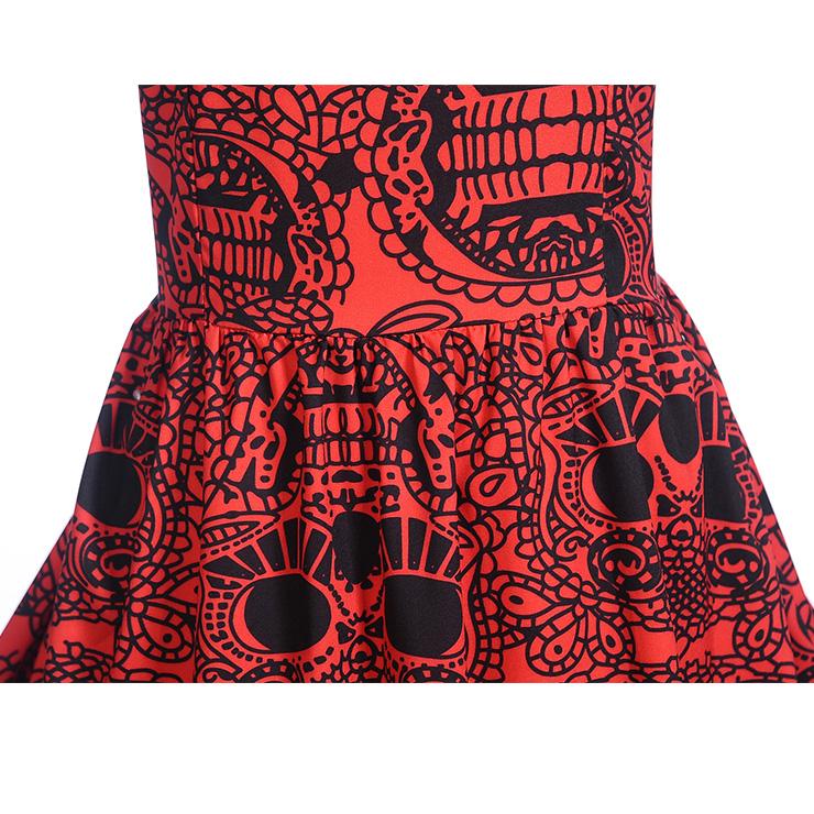 Vintage Dresses for Women, Cocktail Party Dress, Halloween Totem Print Party Dress, Vintage Sleeveless Swing Dresses, A-line Cocktail Party Swing Dresses, Fahion Floral Print Vintage Dress, Round Neck Vintage Day Dress, #N18279