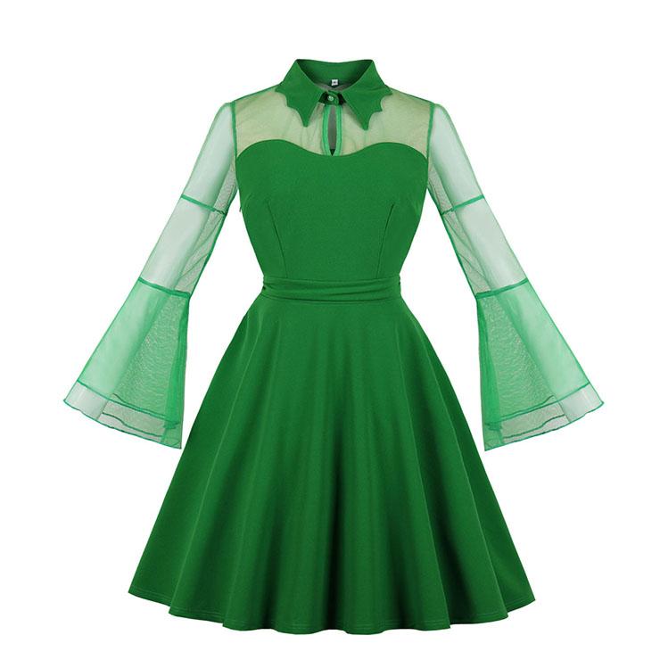 Sexy Vintage See-through Mesh Splicing Flare Sleeve Vampire High Waist Midi Dress N18812