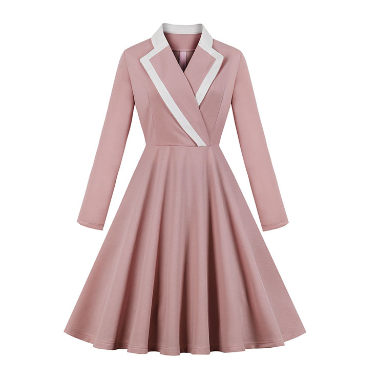 Elegant Pink Turndown Collar Long Sleeve High Waist Midi Dress N19520