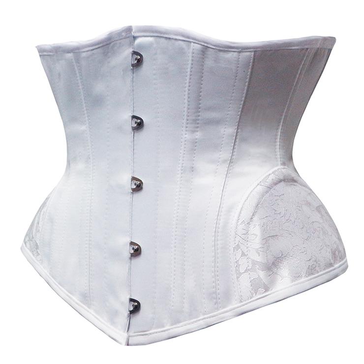 Cheap Corset for Womens, Waist Cincher Corset, Steel Boned Corset, White Underbust Corset, Brocade Underbust Corset, Women