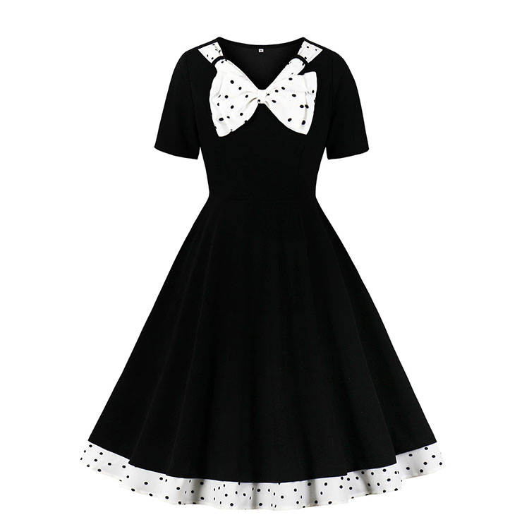 Vintage Black V Neck Bowknot Short Sleeve Cocktail Bridesmaid Stitching Dress N20956