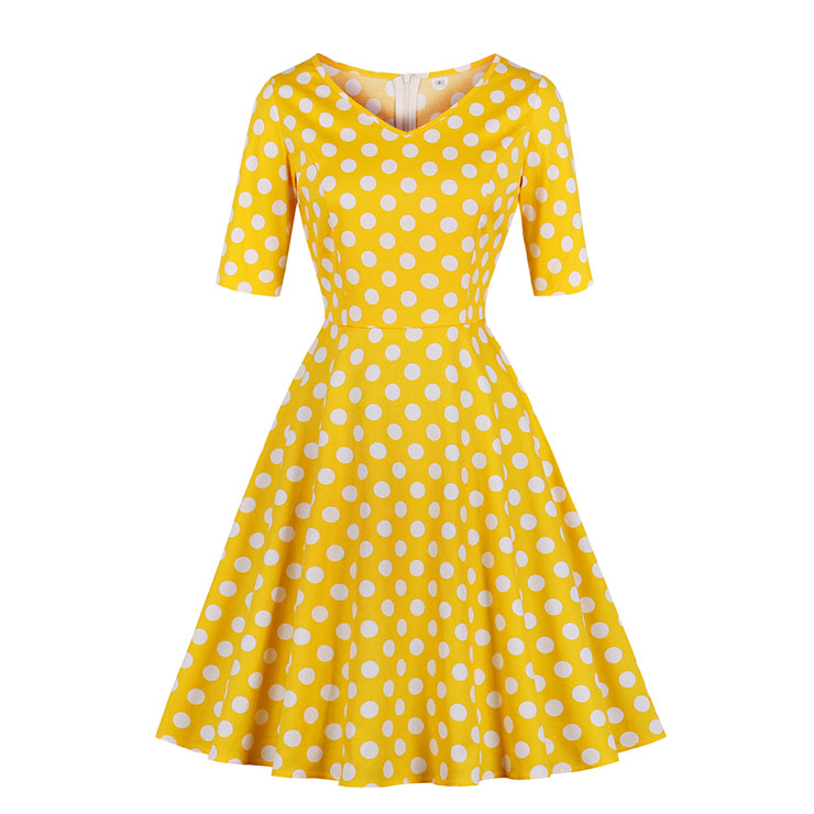 Vintage V Neck Elbow Sleeve Polka Dot Printed A-Line High Waist Dress N17932