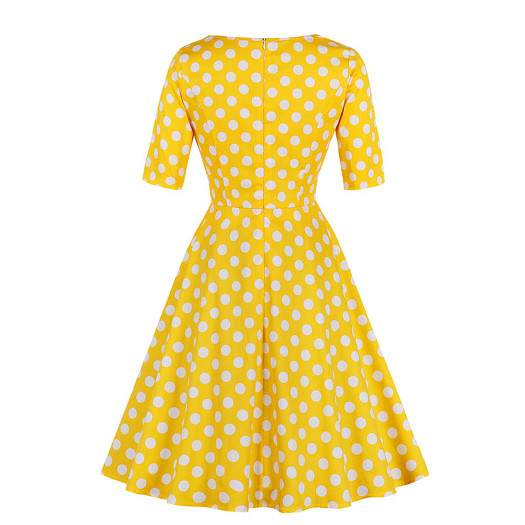 Vintage Dresses for Women, Cocktail Party Dress, Vintage Short Sleeves Swing Dresses, A-line Cocktail Party Swing Dresses, Fahion Floral Print Vintage Dress, V Neck Vintage Day Dress, #N17932