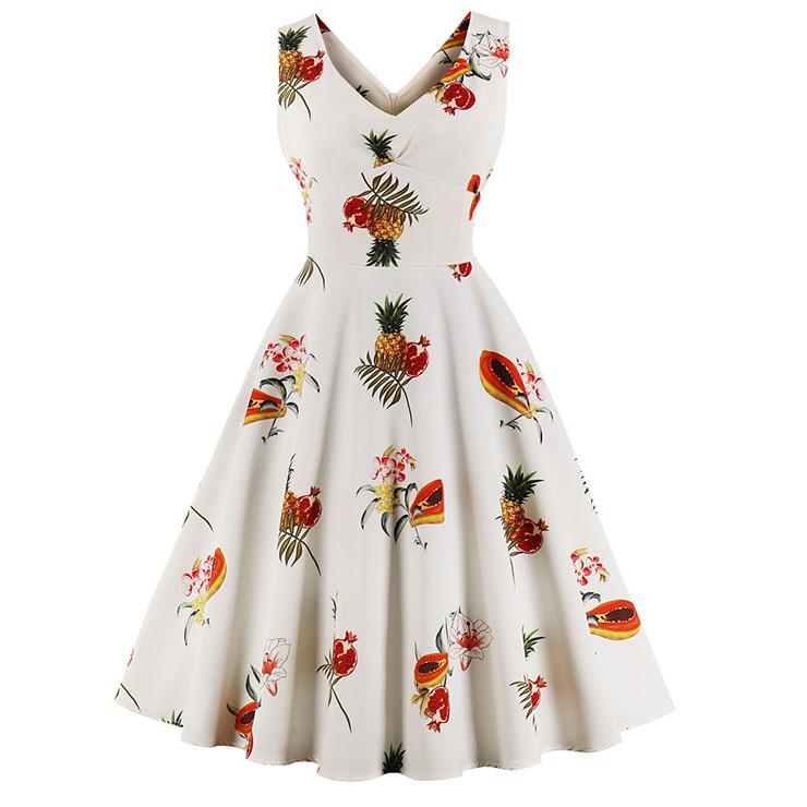Women's Vintage V Neck Sleeveless Fruit Printed Swing Summer Day Dress N17098
