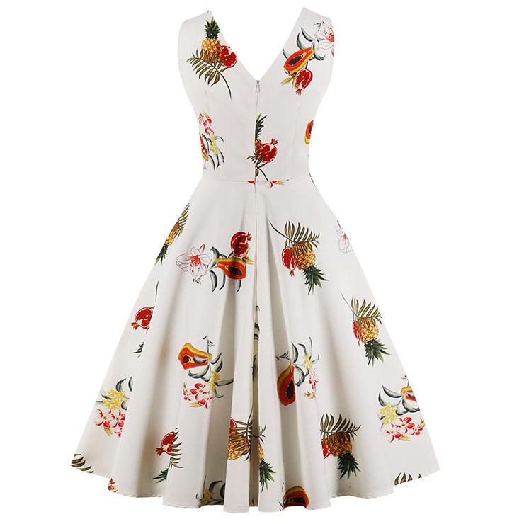 Vintage Dresses for Women, Cocktail Party Dress, Vintage Sleeveless Tank Dresses, A-line Cocktail Party Swing Dresses, Fruit Print Vintage Dress, V Neck Vintage Day Dress, #N17098