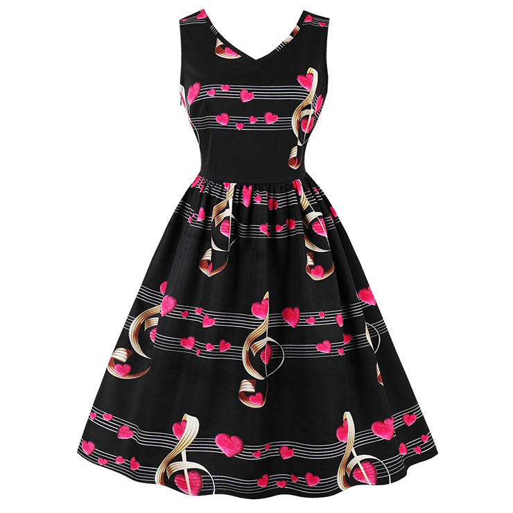 Women's Black Vintage V Neck Sleeveless Music Notes Print Swing Tank Dress N15787