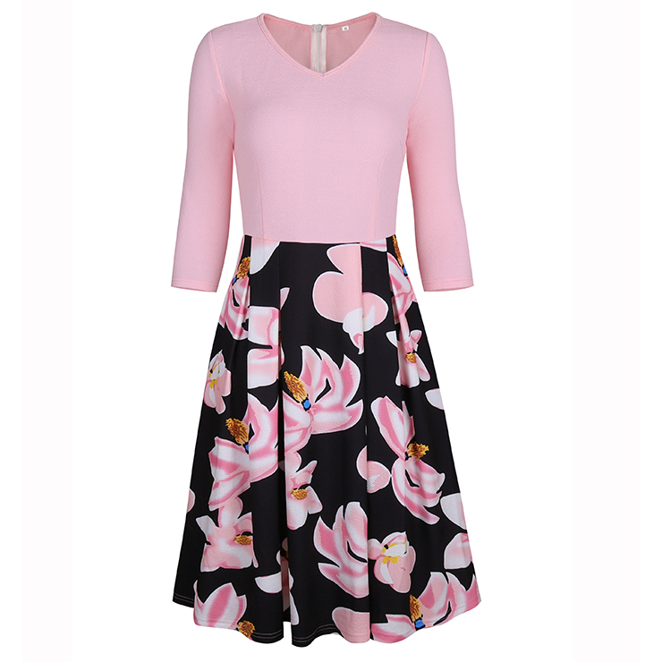 Women's Vintage V Neck 3/4 Length Sleeve Floral Print High Waist A-line Dresses N14556