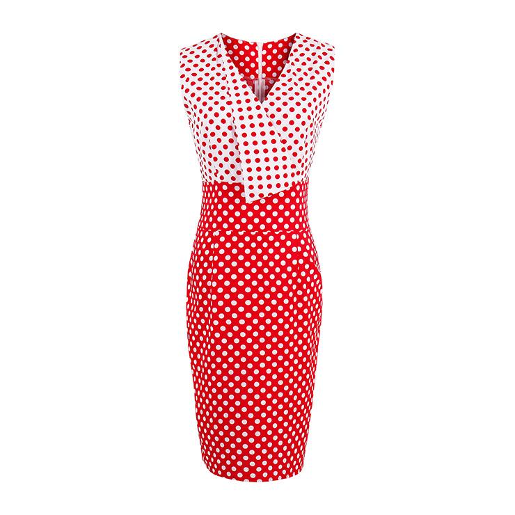 Women's Vintage V Neck Sleeveless Polka Dots Bodycon Dress N14524