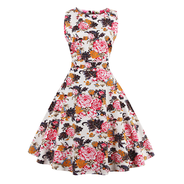 1950's Vintage Floral Print Sleeveless Casual Cocktail Party Swing Dress N11523