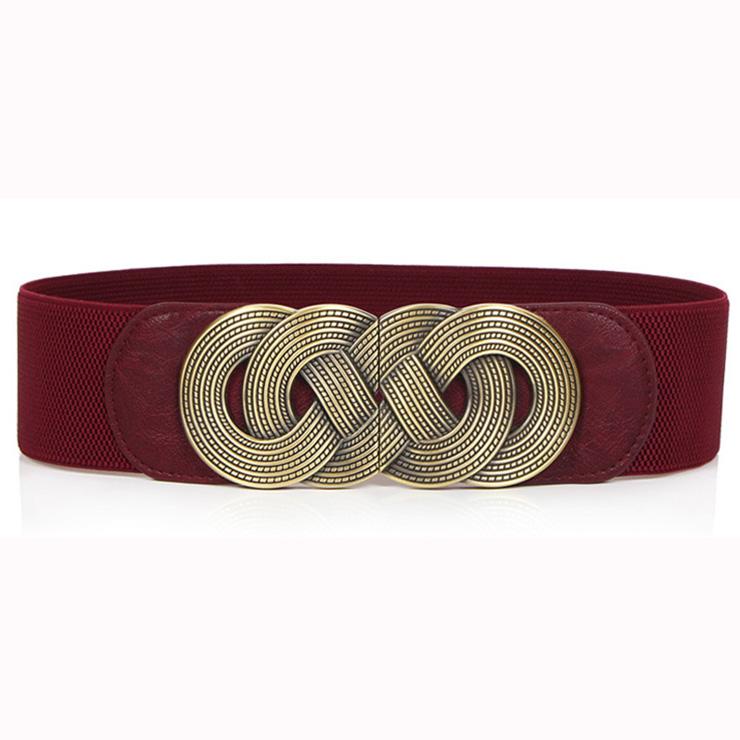 Women's Vintage Wide Elastic Bronze Buckle Waist Belt Retro Cinch Belt N15359