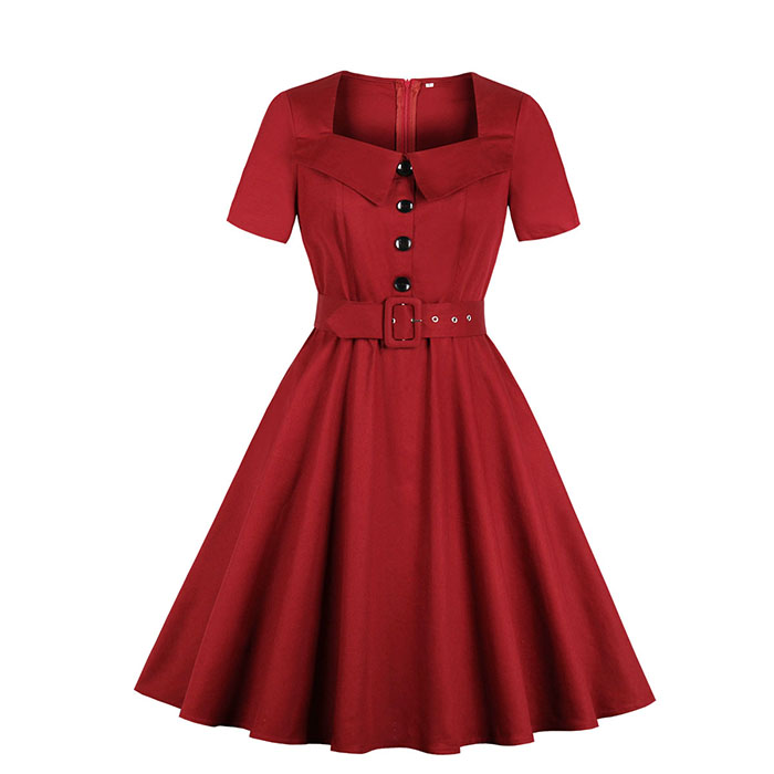 Vintage Wine Red Square Neckline Short Sleeves High Waist Midi Swing Dress with Belt N18491