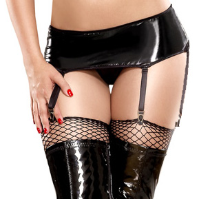 Vinyl skirt with attached garters PT977