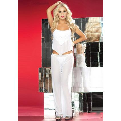 Beauty Chiffon Top and Pants White M1678