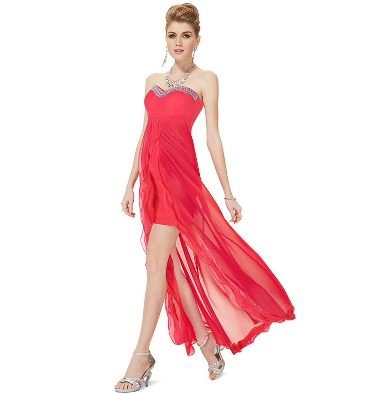Fashion Watermelon Red Sweetheart Ruffles Evening Party ...