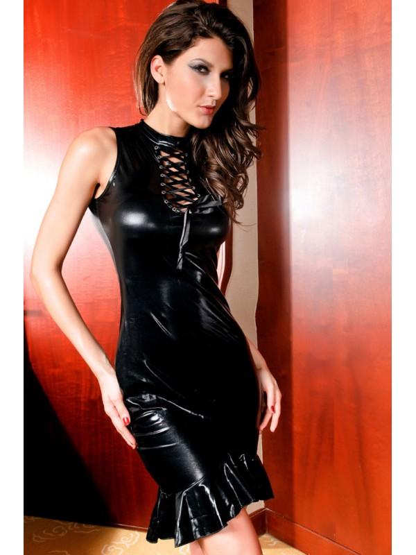Black Sleeveless Vinyl Leather Dress, Faux Leather Mermaid Dress, Keyhole Mermaid Dress String Lacings, #N8515