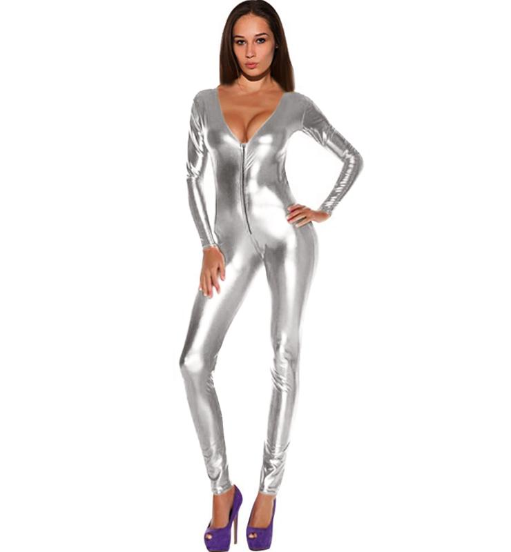 efa78d8efb14 Wet Look Zipper Front Cat Suit N8384