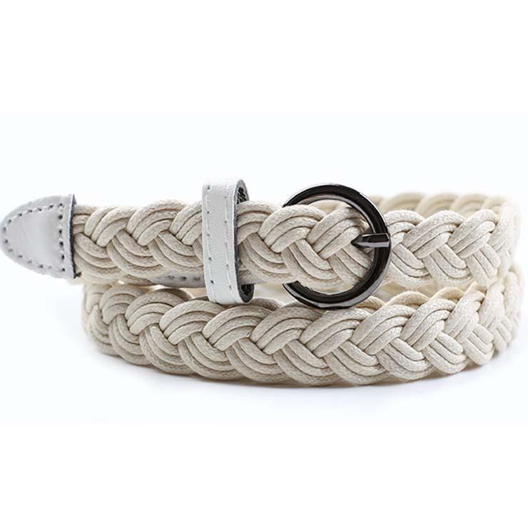 Women's Fashion White Braided Single Prong Buckle Thin Waist Belt N16055