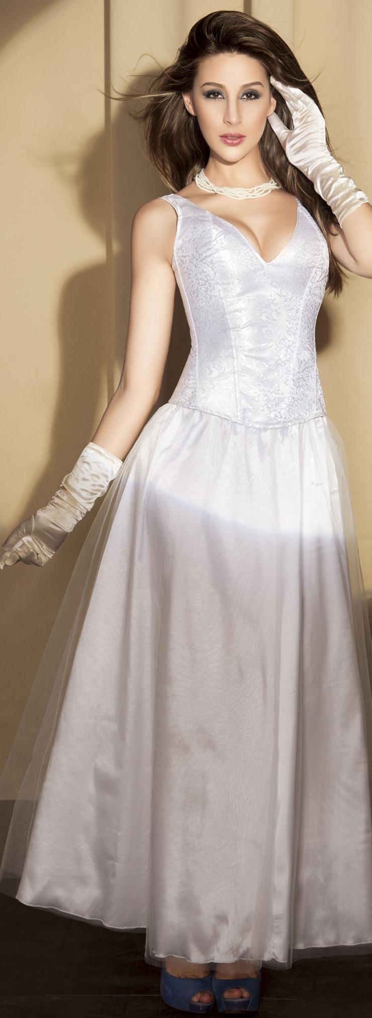 Full-Back Corset, White Brocade Corset, Brocade Bride Corset, #N5064