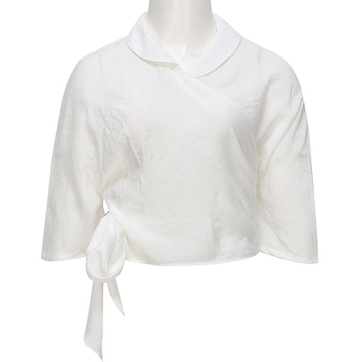 White Cotton Cross Round Neck Women's Elegant Blouse N18184