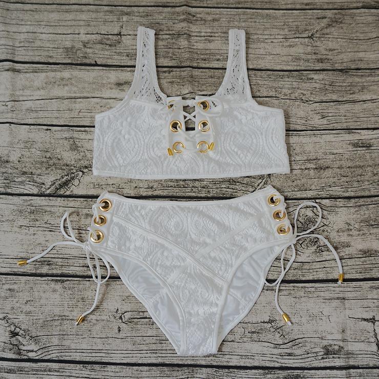 2826c0972e Charming White Floral Lace Hole Lace Up Lingerie Bra Set N15277
