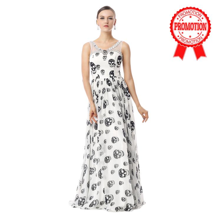 2017 Burlesque White Jewel Neck Straps Skull Print Chiffon Long Party Dresses F30023
