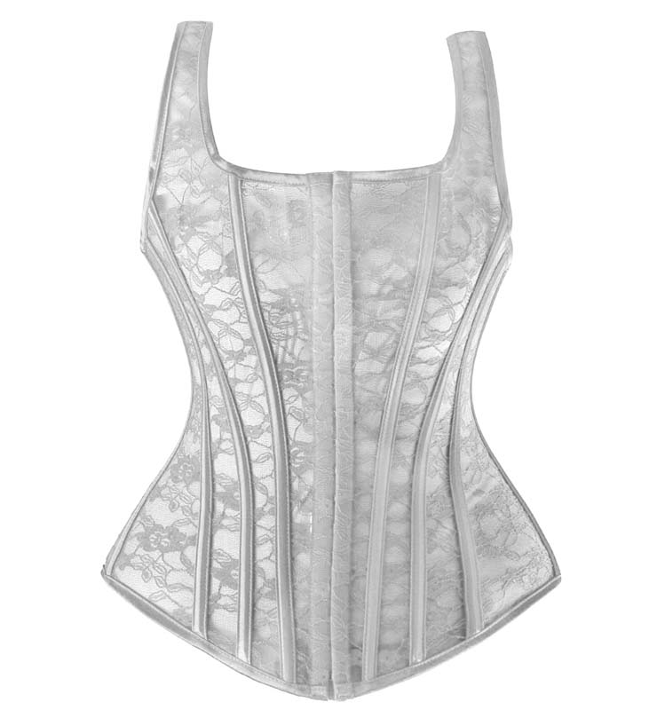 Classical White Lace Square Neck Straps Waist Training Vest Corset N9999