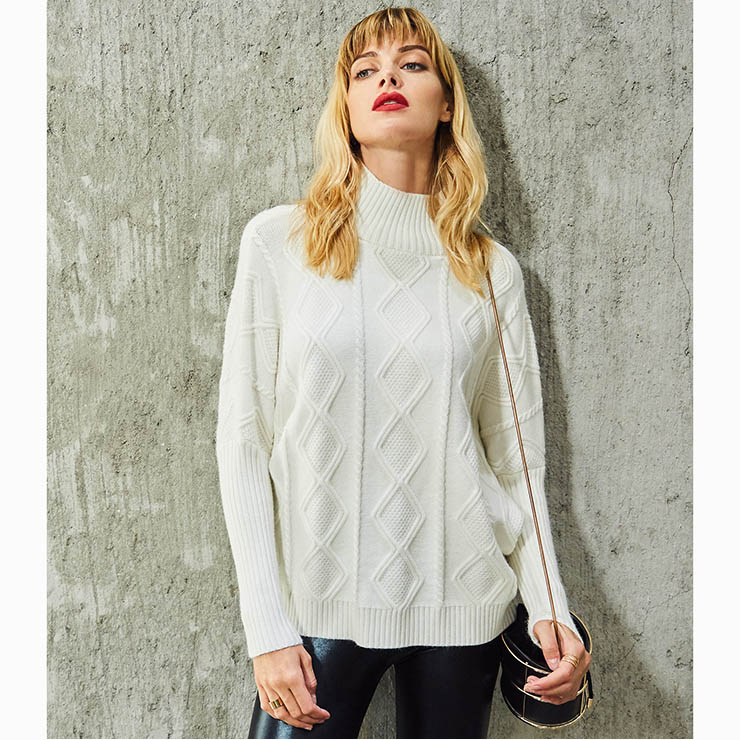 Women's White Long Sleeve High Neck Cable Knit Pullover Sweater N15780