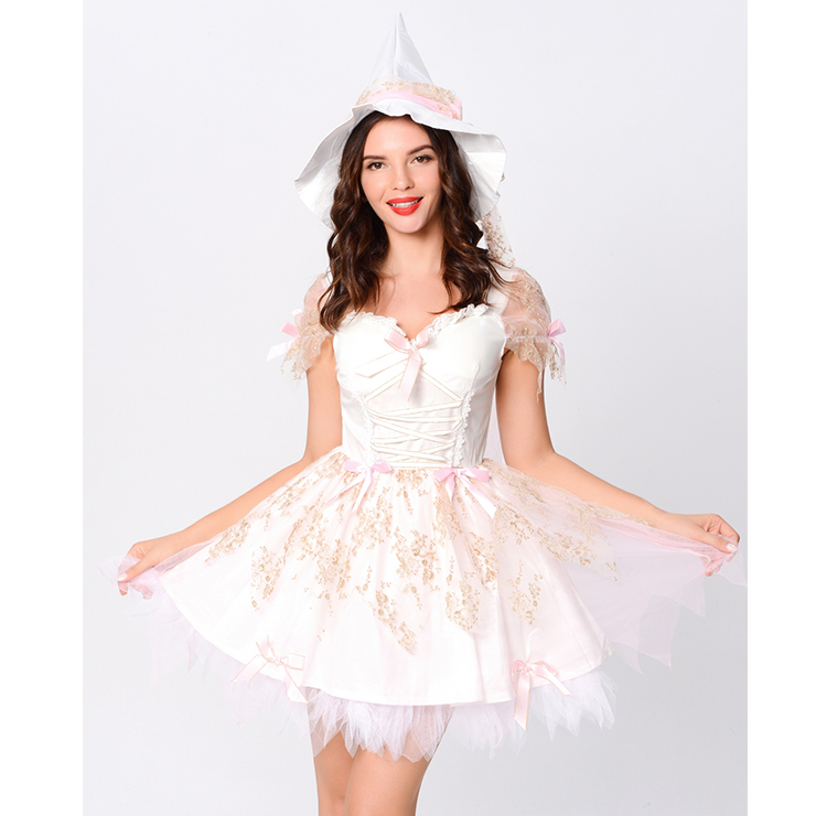 Lovely White Magic Witch Mesh and Sequin Lace-up Mini Dress Adult Cosplay Costume with Hat N20163