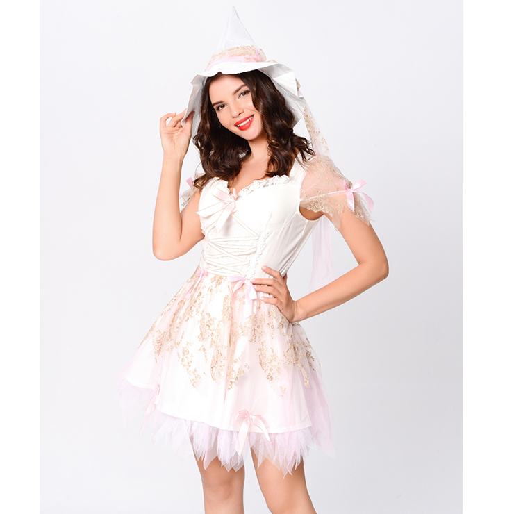 Lovely Vintage Witch Costume, Adult Magic Witch Halloween Party Dress, Sexy Magic Witch Costume, Fashion Cute Witch Womens Costume, Adult Magic Witch Mini Dress Costume, Pure White Witch Costume, #N20163