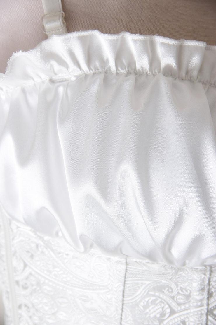 White Paisley Design Corset, Renaissance Corset Top, White Renaissance Overbust Corset, #N6526